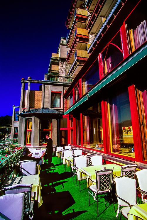 Outdoor dining, Badrutt's Palace Hotel, St. Moritz, Switzerland