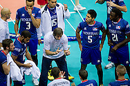 (C) Laurent Tillie trainer coach team of France during the 2013 CEV VELUX Volleyball European Championship match between France and Turkey at Ergo Arena in Gdansk on September 22, 2013.<br /> <br /> Poland, Gdansk, September 22, 2013<br /> <br /> Picture also available in RAW (NEF) or TIFF format on special request.<br /> <br /> For editorial use only. Any commercial or promotional use requires permission.<br /> <br /> Mandatory credit:<br /> Photo by © Adam Nurkiewicz / Mediasport