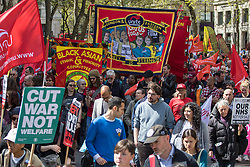 London, May 1st 2016. Members of various trade unions and workers' groups march through London on May Day, International Workers' Day. ©Paul Davey<br /> FOR LICENCING CONTACT: Paul Davey +44 (0) 7966 016 296 paul@pauldaveycreative.co.uk