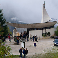 LONGARONE, ITALY - OCTOBER 09: A general view of the chapel built above the dam seen on the day of the memorial for the Vajont victims on October 9, 2013 in Longarone, Italy. Today is the 50th anniversary of the Vajont disaster, which occurred on 9th October 1963, and is the worst landslide disaster in European history with 2000 people killed.  (Photo by Marco Secchi/Getty Images)