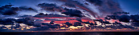 Colorful Dawn Panorama at Sea from the Aft Deck of the MV World Odyssey While Crossing the Pacific Ocean. Composite of 7 images taken with a  Fuji X-T1 camera and 23 mm f/1.4 lens (ISO 400, 23 mm, f/4, 1/60 sec). Raw images processed with Capture One Pro and AutoPano Giga Pro.