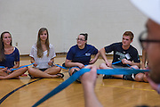 Students play ice breaker games during their Bobcat Student Orientation at the Ping Center on July 18, 2013.  Photo by Elizabeth Held