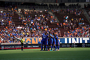 FC Cincinnati players huddle prior to the start of their MLS soccer game against the New England Revolution, Sunday, July 21, 2019, in Cincinnati, OH. The Revolution defeated FC Cincinnati 2-0.(Jason Whitman/Image of Sport)