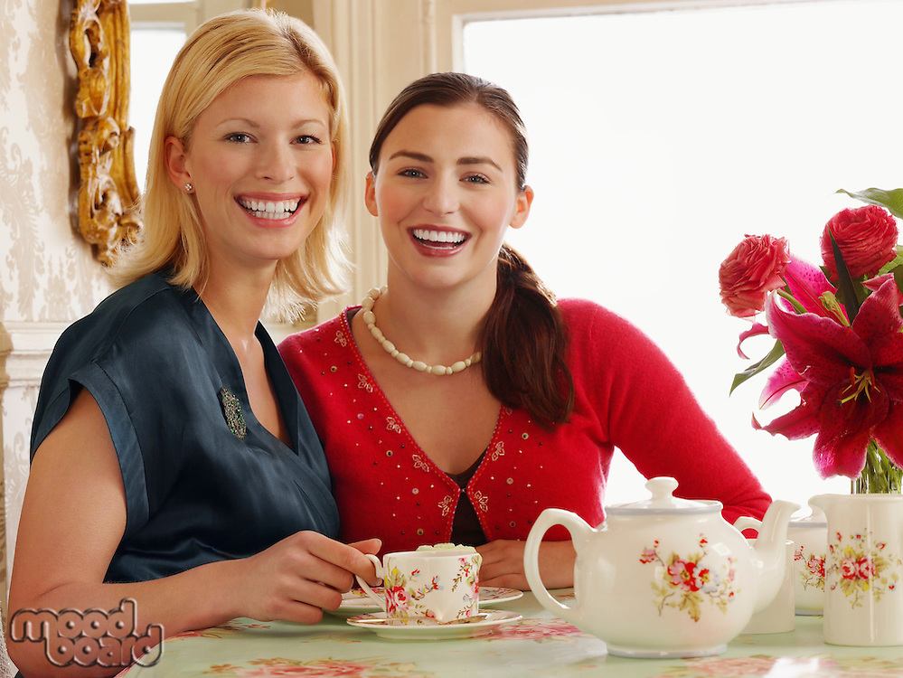 Two young women sitting at dining table portrait