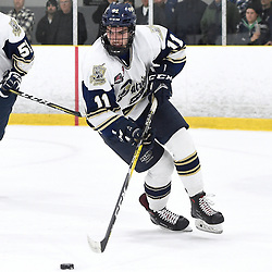TORONTO, ON  - APR 10,  2018: Ontario Junior Hockey League, South West Conference Championship Series. Game seven of the best of seven series between Georgetown Raiders and the Toronto Patriots. Brett Bannister #11 of the Toronto Patriots skates after the puck during the second period.<br /> (Photo by Andy Corneau / OJHL Images)
