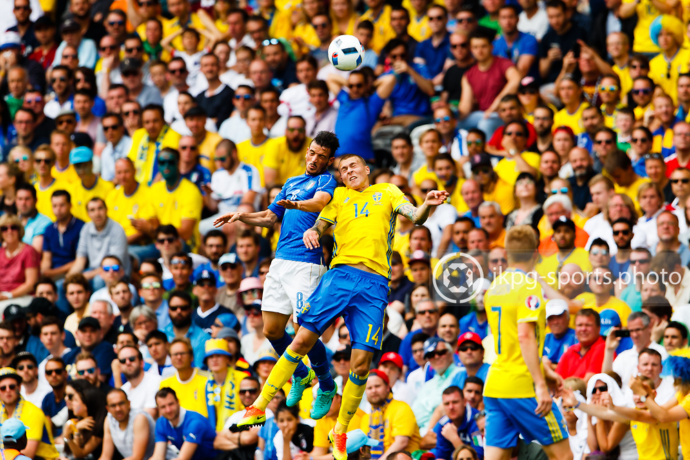 June 17 2016, Euro 2016 Italy- Sweden<br /> (8) Alessandro Florenzi, (ITA) in a header with (14) Victor Lindelof, (SWE).<br /> Editorial Use Only.<br /> Local caption:<br /> Em Fotboll, Italien - Sverige, 20160617<br /> (8) Alessandro Florenzi, (ITA) i en nickduell med (14) Victor Lindel&ouml;f, (SWE).<br /> Endast f&ouml;r redaktionellt bruk.<br /> &copy; Daniel Malmberg/IBL/All Over Press
