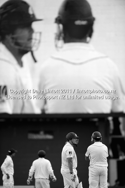 NZ's Jesse Ryder and Ross Taylor. 2nd cricket test match - New Zealand Black Caps v Pakistan, day four at the Basin Reserve, Wellington, New Zealand on Tuesday, 18 January 2011. Photo: Dave Lintott / photosport.co.nz