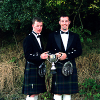 Drew Christie and Derek Brown (right), who have been banned from theScottish Clay Target Association for wearing kilts to an awards presentation.<br /><br />Collect from Perthshire Picture Agency<br />Tel: 01738 623350 / 07990 594431