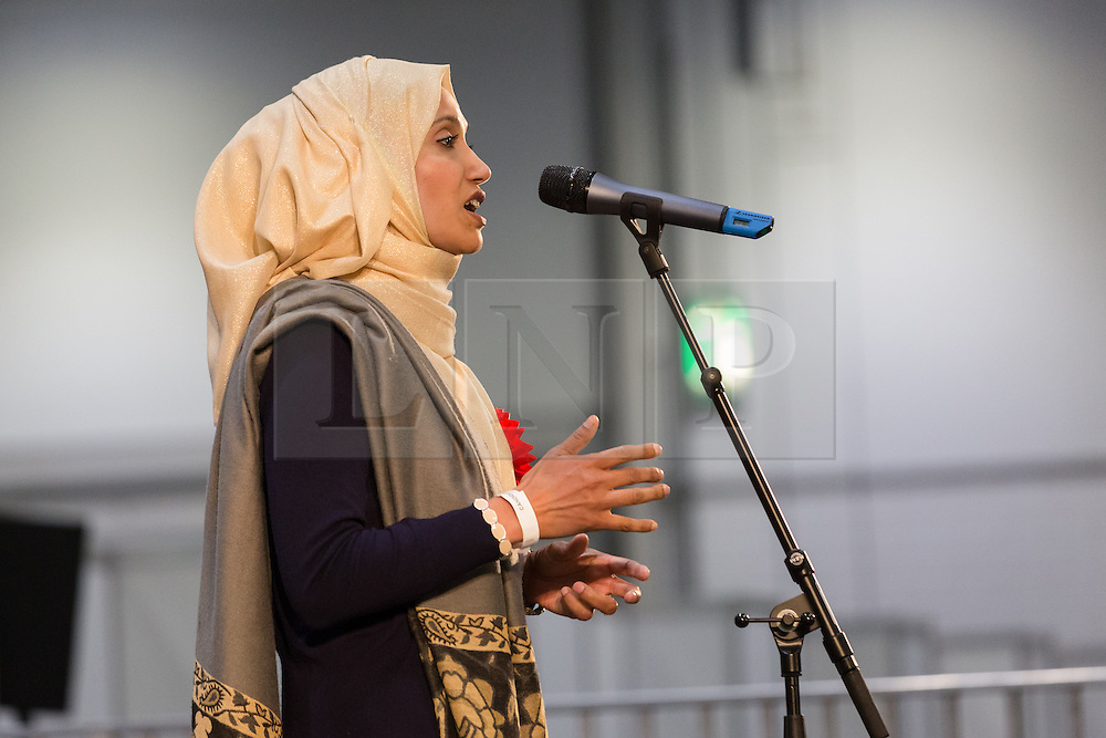 © Licensed to London News Pictures. 12/06/2015. London, UK. Independent candidate, RABINA KHAN makes a speech after losing to Labour's JOHN BIGGS. Lutfur Rahman was removed from office for fraud and corrupt practices by an election court earlier this year and the 2014 election was rerun as a result. Photo credit : Vickie Flores/LNP