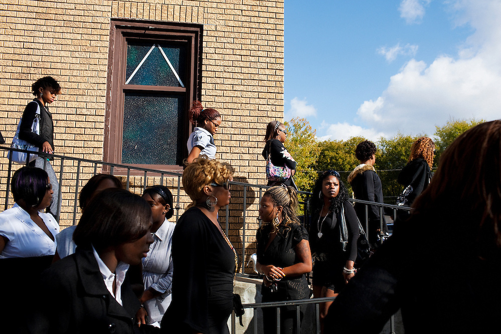 "Friends and family of Demetrius ""Butta"" Anderson, 18, leave McKinney Chapel in the  Baptist Town neighborhood of Greenwood, Mississippi on Friday, November 5, 2010 after Butta's funeral. He was shot and killed on October 27, 2010. 2"