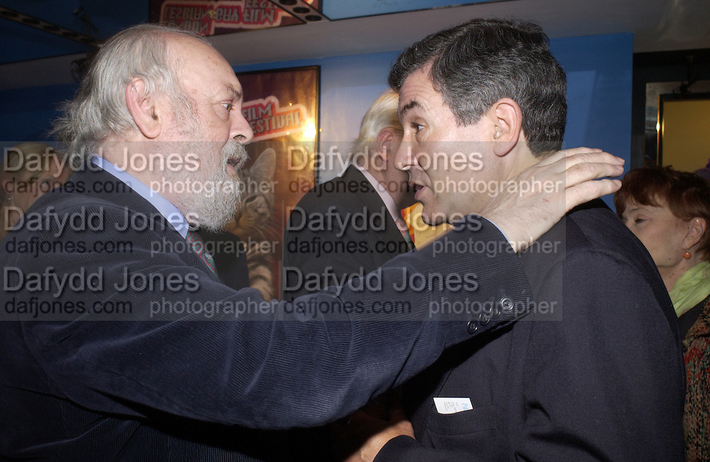 Hugh Whitemore and  Stephen Waley-Cohen, Celebration of 100 years of the acting school RADA at the National Film Theatre, on May 9 2004. SUPPLIED FOR ONE-TIME USE ONLY> DO NOT ARCHIVE. © Copyright Photograph by Dafydd Jones 66 Stockwell Park Rd. London SW9 0DA Tel 020 7733 0108 www.dafjones.com