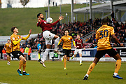 Vadaine Oliver chests the ball during the EFL Sky Bet League 2 match between Northampton Town and Crewe Alexandra at the PTS Academy Stadium, Northampton, England on 16 November 2019.