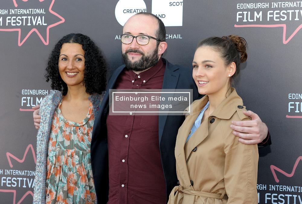 Edinburgh International Film Festival, Thursday, 21st June 2018<br /> <br /> Juror's Photocall<br /> <br /> Pictured: Miriam Bale, Alejandro Diaz Castano and Sophie Skelton make up the Shorts Jury<br /> <br /> (c) Aimee Todd   Edinburgh Elite media