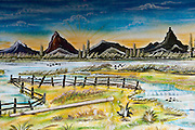 Mauritius. Landscape painting on the back wall of a small Hindu shrine.