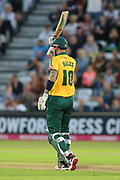 Alex Hales of Nottinghamshire Outlaws celebrates getting 50 runs during the Vitality T20 Blast North Group match between Nottinghamshire County Cricket Club and Worcestershire County Cricket Club at Trent Bridge, West Bridgford, United Kingdon on 18 July 2019.