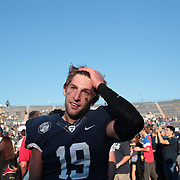 Yale Quarterback Morgan Roberts at the end of the game during the Yale V Army, Football match at Yale Bowl, New Haven. Yale won the match 49-43 in overtime in front of a crowd of 34,142. New Haven, Connecticut, USA. 27th September 2014. Photo Tim Clayton