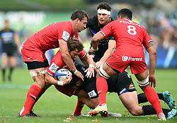 Maxime Medard of Toulouse is tackled - Mandatory byline: Patrick Khachfe/JMP - 07966 386802 - 13/10/2018 - RUGBY UNION - The Recreation Ground - Bath, England - Bath Rugby v Toulouse - Heineken Champions Cup