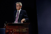 "London, England, UK, October 4 2018 - ""Post War and Contemporary Art"" evening auction at Christie's, conducted by its global president and main auctioneer Jussi Pylkkänen."