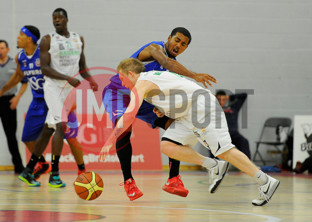 Bristol Academy Flyers' Dwayne Lautier-Ogunleye battles for the ball with Plymouth Uni Raiders' Josh Wilcher  - Photo mandatory by-line: Joe Meredith/JMP - Mobile: 07966 386802 - 27/09/2014 - SPORT - Basketball - Bristol - SGS Wise Campus - Bristol Academy Flyers v Plymouth Uni Raiders - British Basketball League