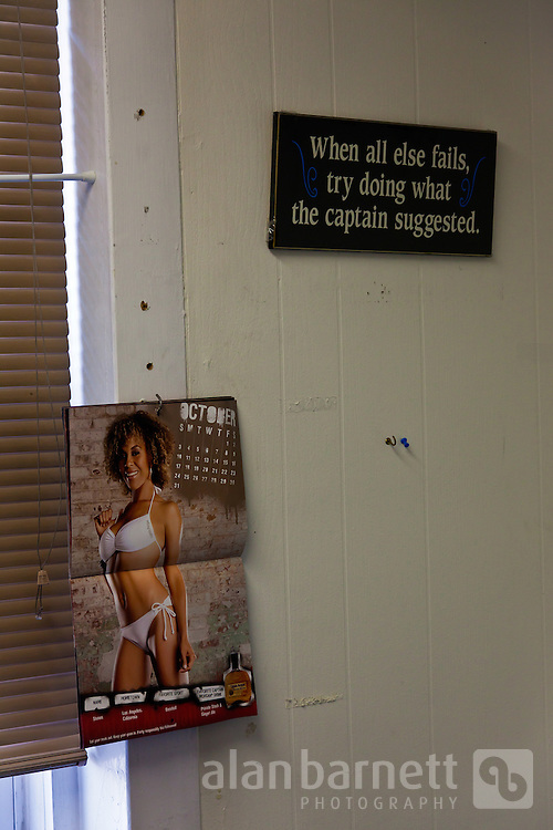 Sparse decor on the wall of the shift captain's room.