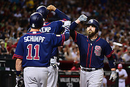 PHOENIX, AZ - JULY 04:  Derek Norris #3 of the San Diego Padres is congratulated by teammates Matt Kemp #27 and Ryan Schimpf #11 after hitting a two run home run during the sixth inning against the Arizona Diamondbacks at Chase Field on July 4, 2016 in Phoenix, Arizona.  (Photo by Jennifer Stewart/Getty Images)