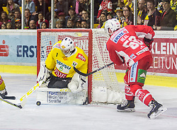 20.04.2019, Stadthalle, Klagenfurt, AUT, EBEL, EC KAC vs Vienna Capitals, Finale, 4. Spiel, im Bild Jean-Philippe Amoureux, (spusu Vienna CAPITALS, #1), Matt NEAL (EC KAC, #50) // during the Erste Bank Icehockey 4th final match between EC KAC and Vienna Capitals at the Stadthalle in Klagenfurt, Austria on 2019/04/20. EXPA Pictures © 2019, PhotoCredit: EXPA/ Gert Steinthaler