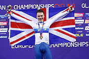 Podium, Men Omnium, Ethan Hayer (Great Britain) gold medal, during the Track Cycling European Championships Glasgow 2018, at Sir Chris Hoy Velodrome, in Glasgow, Great Britain, Day 3, on August 4, 2018 - Photo Luca Bettini / BettiniPhoto / ProSportsImages / DPPI