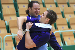 Sokol Kadrija and Luka Zvizej at practice of Slovenian handball men national team before going to Israel, on October 27, 2008 in Lasko, Slovenia. (Photo by Vid Ponikvar / Sportal Images)