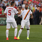 Leandro Castán, (left) and Ashley Cole, (right), Roma, during the Liverpool Vs AS Roma friendly pre season football match at Fenway Park, Boston. USA. 23rd July 2014. Photo Tim Clayton