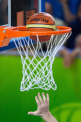 Ball in the net during basketball match between national team of Russia and Italy of Eurobasket 2013 on September 4, 2013 in Arena Bonifika, Koper, Slovenia. (Photo By Matic Klansek Velej / Sportida.com)
