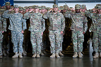 Members of California Army National Guard&rsquo;s 1st Battalion, 184th Infantry Regiment, salute during the deployment ceremony at the International Jet Center at Sacramento Airport,  Saturday Sep 16, 2017. About 300 Soldiers from the California Army National Guard&rsquo;s 1st Battalion, 184th Infantry Regiment, will depart California this weekend for a yearlong training deployment to Jordan in the Middle East. <br /> photo by Brian Baer