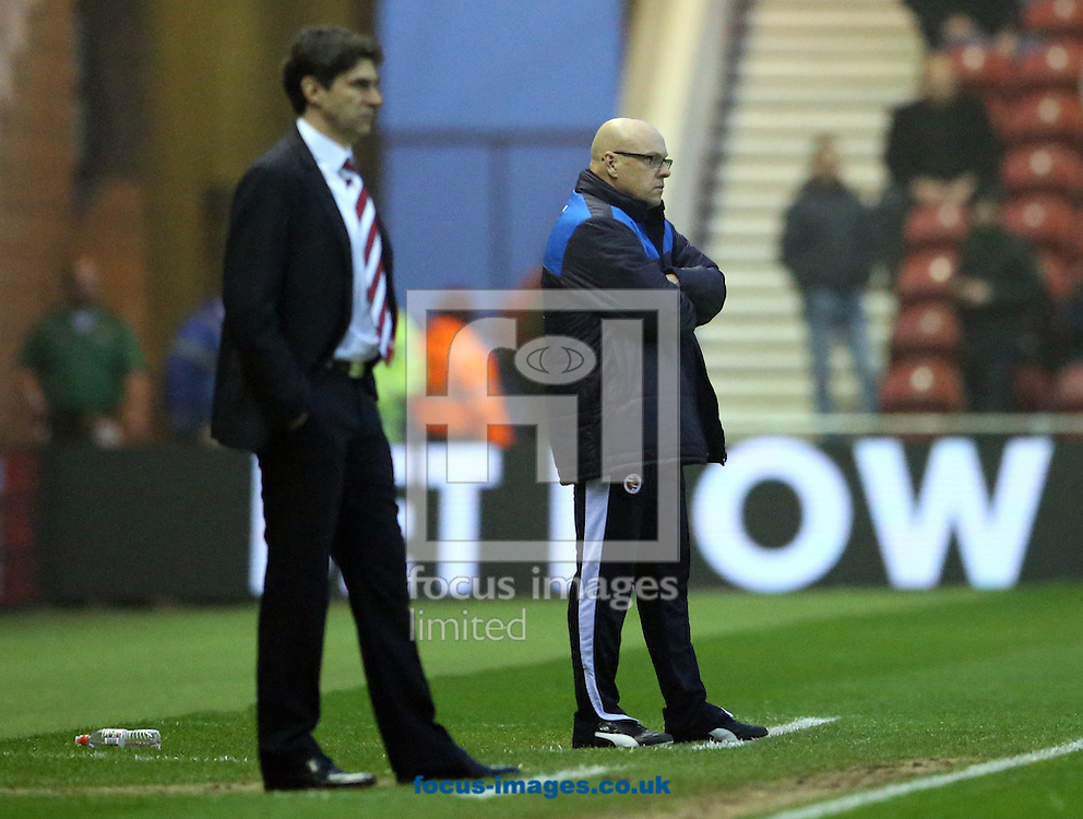 Reading manager Brian McDermott (r) and Middlesbrough head coach Aitor Karanka during the Sky Bet Championship match at the Riverside Stadium, Middlesbrough<br /> Picture by Simon Moore/Focus Images Ltd 07807 671782<br /> 12/04/2016