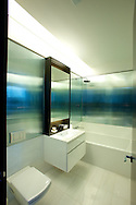 One of the bathrooms in the  model apartment at One57 located on West 57th Street in Manhattan.