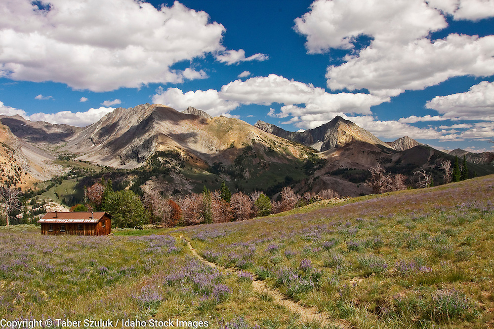 View of the Pioneer Cabin on hiking trail in the Sawtooth Mountains in Sun Valley, Idaho.
