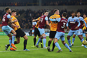 Leander Dondoncker scores a goal to make it 1-0 during the Premier League match between Wolverhampton Wanderers and West Ham United at Molineux, Wolverhampton, England on 4 December 2019.