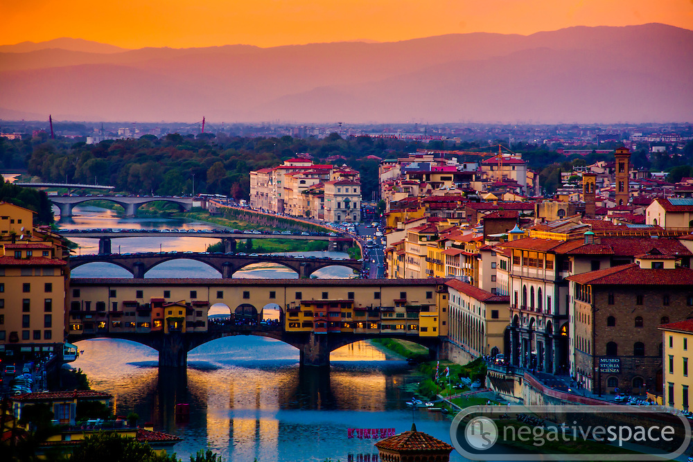 Sunset over the Arno River, a view from the Piazzele Michelangelo, Florence, Italy