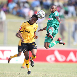 David Mathebula and Sibusiso Hadebe (Sibu) going for the ball<br />  PSL ABSA PREMIERSHIP FOOTBALL.<br /> Sunday, August 30, 2009   AmaZulu VS  Kaizer Chiefs  Chatsworth Stadium<br /> <br /> <br /> <br /> <br /> Pic: Steve Haag/Back Page Sport.com