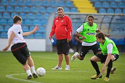 PODGORICA, MONTENEGRO - Tuesday, August 11, 2009: Wales' manager John Toshack MBE during a training session at the Gradski Stadion ahead of the international friendly match against Montenegro. (Photo by David Rawcliffe/Propaganda)