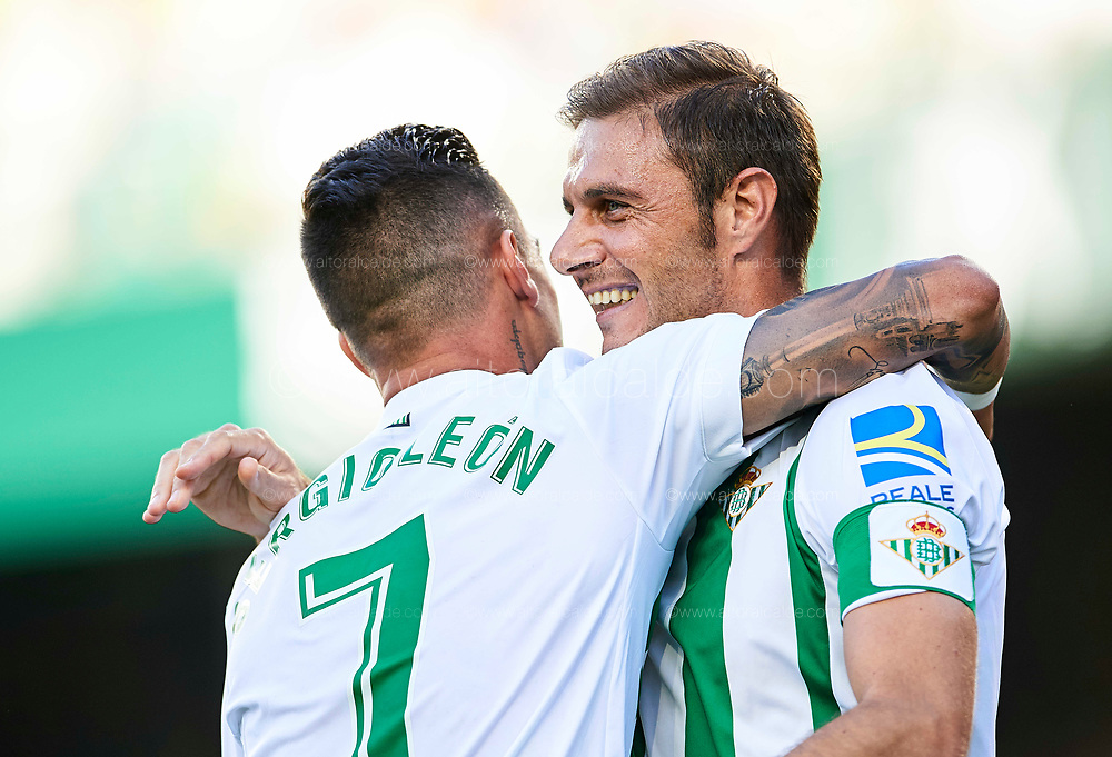 SEVILLE, SPAIN - SEPTEMBER 16:  Joaquin Sanchez of Real Betis Balompie celebrates after scoring with Sergio Leon of Real Betis Balompie during the La Liga match between Real Betis and Deportivo La Coruna  at Estadio Benito Villamarin on September 16, 2017 in Seville, .  (Photo by Aitor Alcalde Colomer/Getty Images)