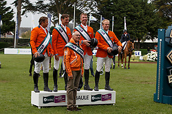 Team Netherlands, Rob Ehrens, Wout Jan Van der Schans, Leopold van Asten, Jur Vrieling, Willem Greve, (NED) winners of the Furusiyya FEI Nations Cup presented by Longines - La Baule 2016<br /> © Hippo Foto - Dirk Caremans<br /> 13/05/16