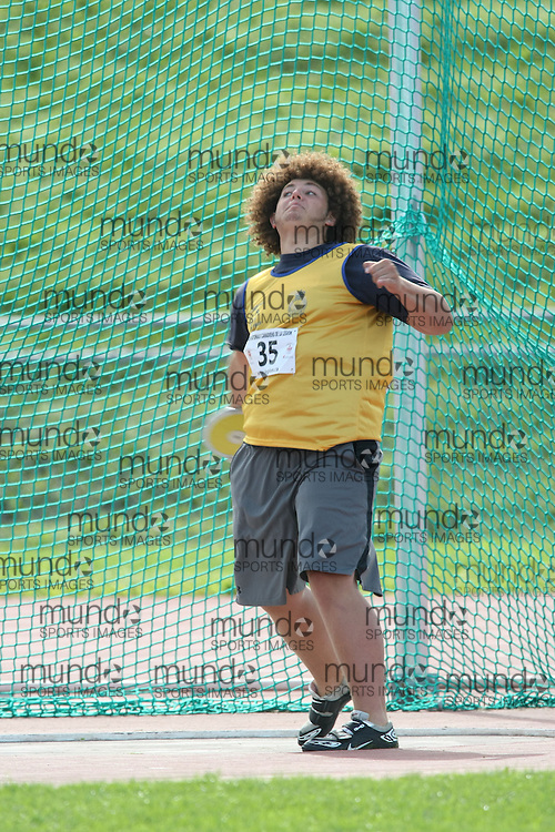 (Sherbrooke, Quebec---10 August 2008) Ryan Tarnava competing in the youth boys discus at the 2008 Canadian National Youth and Royal Canadian Legion Track and Field Championships in Sherbrooke, Quebec. The photograph is copyright Sean Burges/Mundo Sport Images, 2008. More information can be found at www.msievents.com.