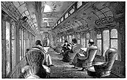 Pullman drawing room car on the Midland Railway, England. Wood engraving, 1876.