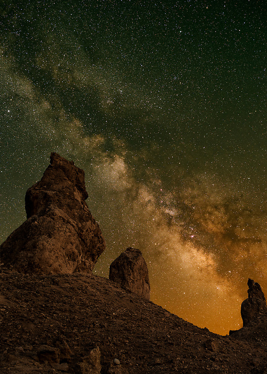 Milky Way core at Trona Pinnacles. The green light here is from airglow. Oxygen molecules in Earth's upper atmosphere are excited by the ultraviolet from the sun light during the day and at night gives out this green glow in the upper atmosphere<br />