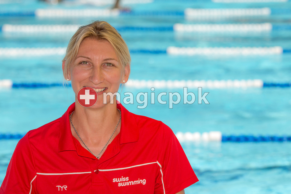 Swiss Swimming coach Kathlen Massow of Germany poses for a portrait photo during the Swiss Swimming Junior and Youth Championships held at the 50m outdoor pool in Schaffhausen, Switzerland, Friday, July 18, 2014. (Photo by Patrick B. Kraemer / MAGICPBK)