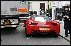 MAR 10 2014 Smashed Ferrari in London