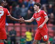 Leyton Orient midfielder Scott Kashket is congratulated by Leyton Orient striker Jay Simpson for his late goal during the Sky Bet League 2 match between Leyton Orient and Oxford United at the Matchroom Stadium, London, England on 17 October 2015. Photo by Bennett Dean.