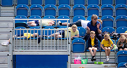 LIVERPOOL, ENGLAND - Wednesday, June 19, 2013: School children during the Kids Day at the Liverpool Hope University International Tennis Tournament at Calderstones Park. (Pic by David Rawcliffe/Propaganda)