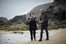© Licensed to London News Pictures . 20/06/2016 . Cornwall, UK . Liberal Democrat MEP Catherine Bearder talking to Hugo Tagholm , Chief Executive of charity , Surfers Against Sewage , about EU environmental protections , on St Agnes Beach . Surfers Against Sewage coordinate volunteers across the UK to clean beaches in order to meet EU environmental standards , imposed to protect coastal wildlife . Photo credit : Joel Goodman/LNP
