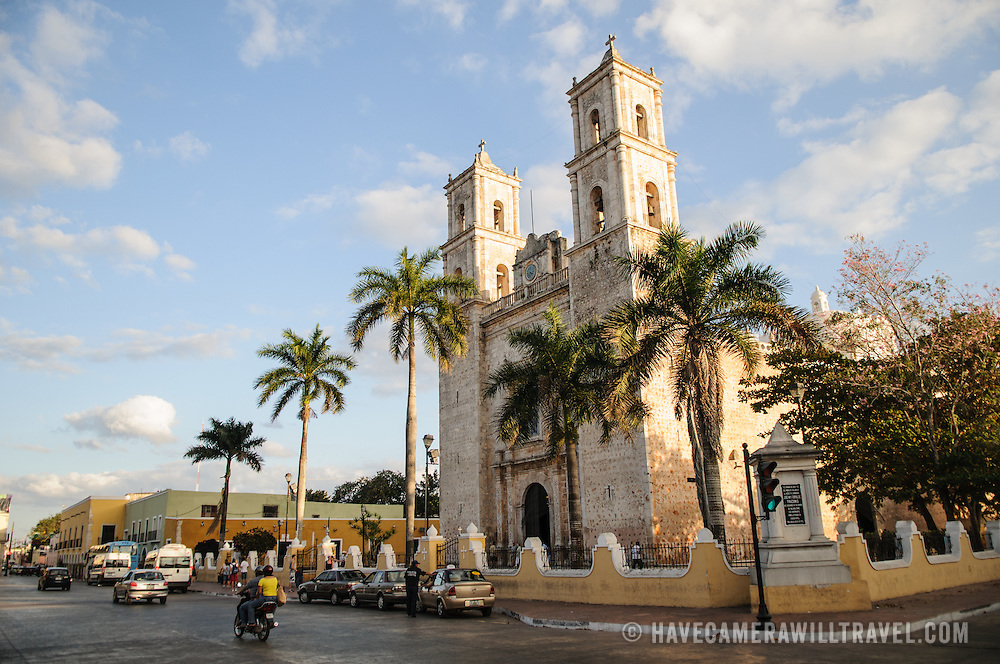 Cathedral of San Gervasio (Catedral De San Gervasio) and street in Valladolid in the heart of Mexico's Yucatan Peninsula.