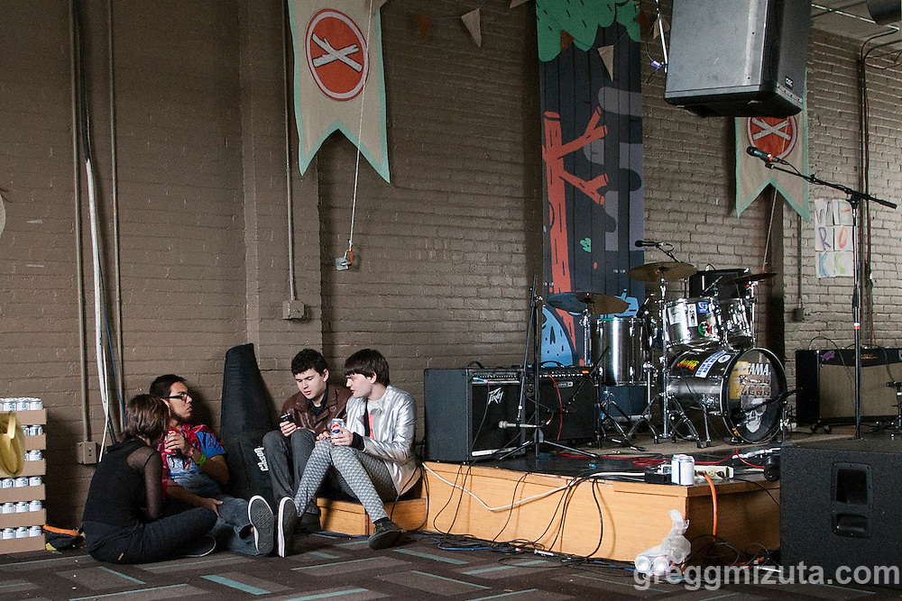 The band Love-Lace performs at the Watercooler during Day 2 of the Treefort Music Fest on March 24, 2016 in Boise, Idaho. (Gregg Mizuta/greggmizuta.com)<br /> <br /> Ian Nash, Lakotah Henry, Miguel Bautista, Allison Lizaso, Searra Hale